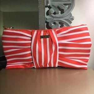 Kate Spade red stripe bow clutch